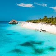 Zanzibar Beach teal blue water in Tanzania