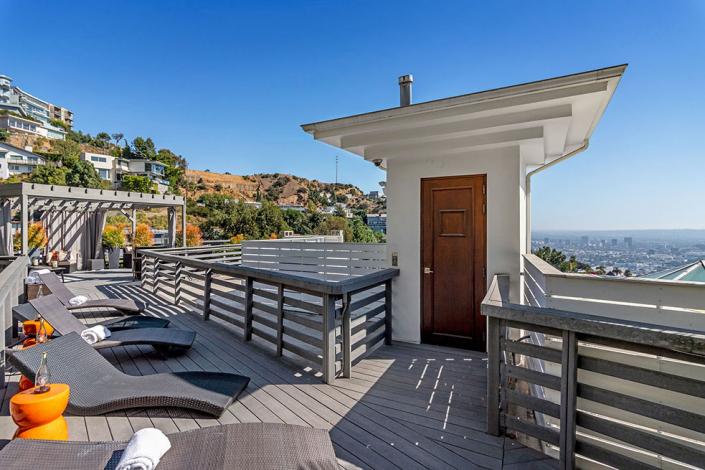 hollywood hills villa rental rooftop patio entrance