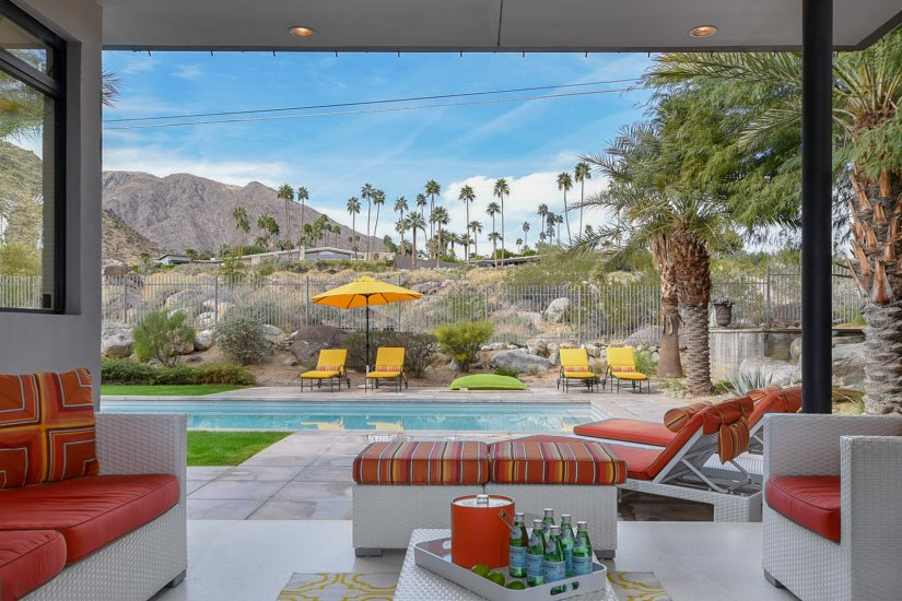 palm springs villa rental view of pool