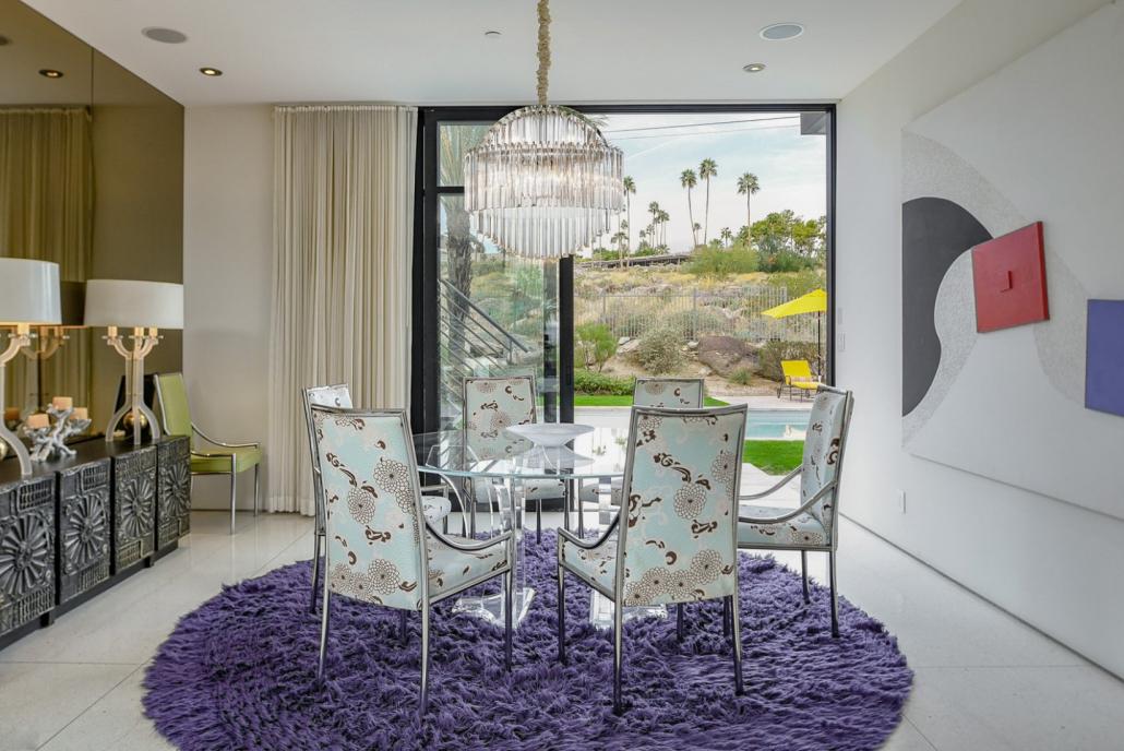 palm springs villa rental dining table
