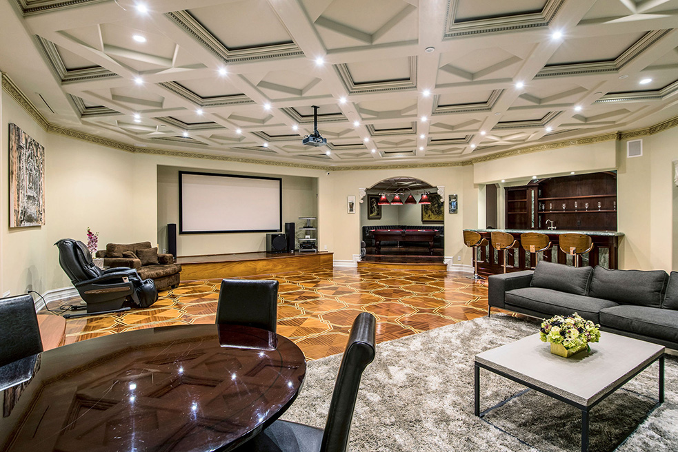 beverly hills villa rental game room with projector