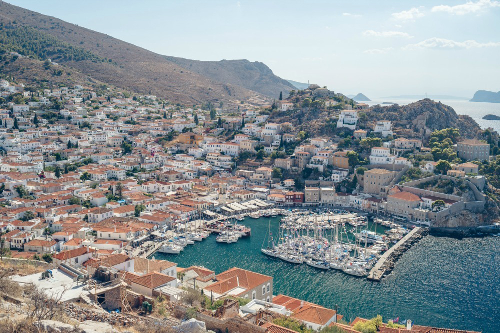hydra greece aerial view the yacht week