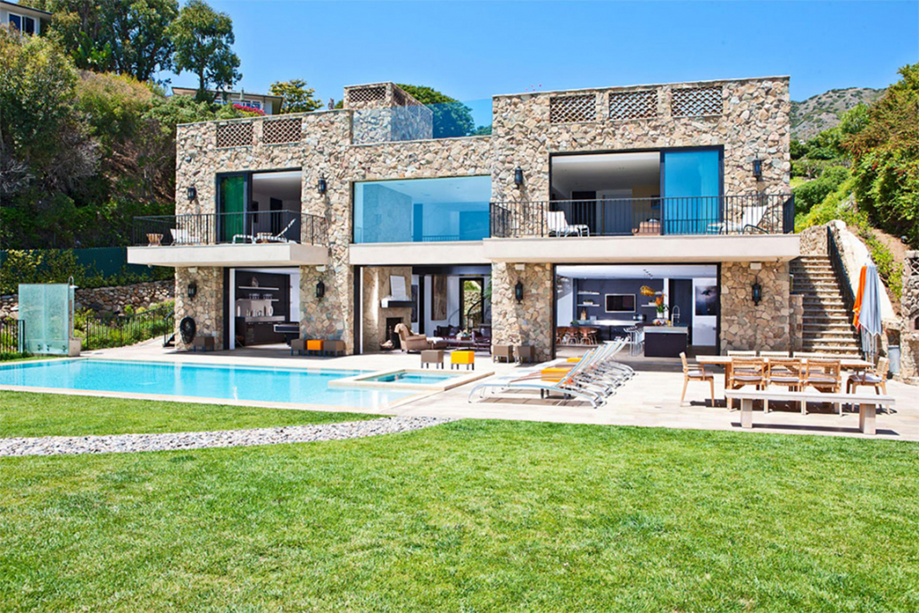 malibu stone villa backyard with pool