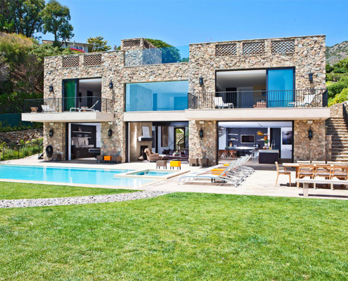 malibu stone villa backyard with pool