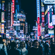 tokyo city at night with crowd