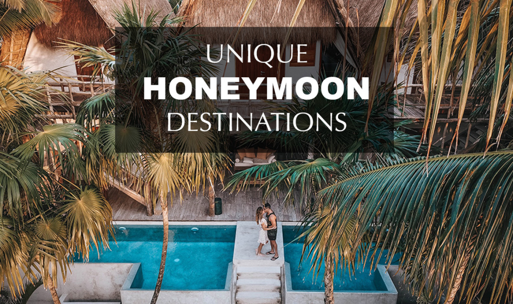 unique honeymoon destinations couple kissing