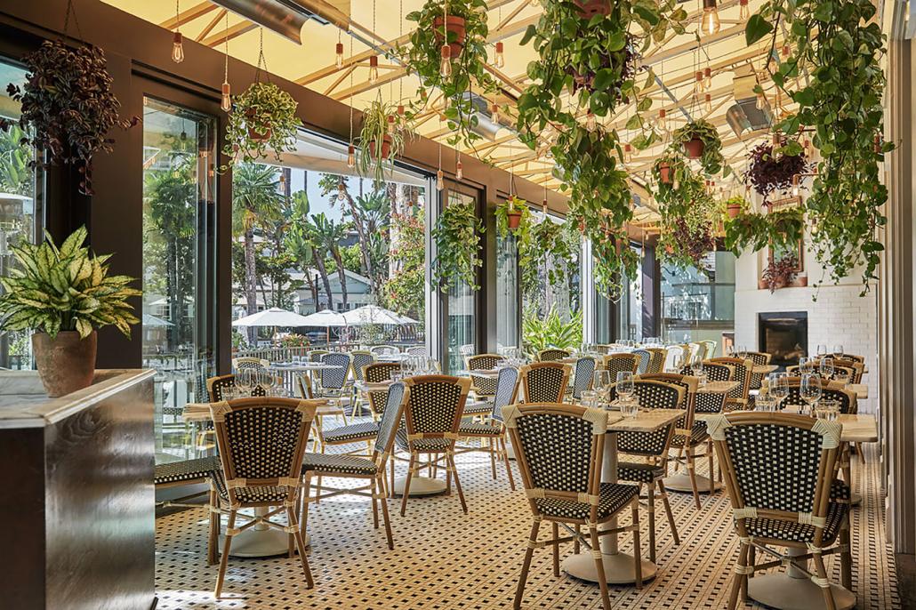 fig restaurant atrium at the Fairmont Miramar Hotel in Santa Monica