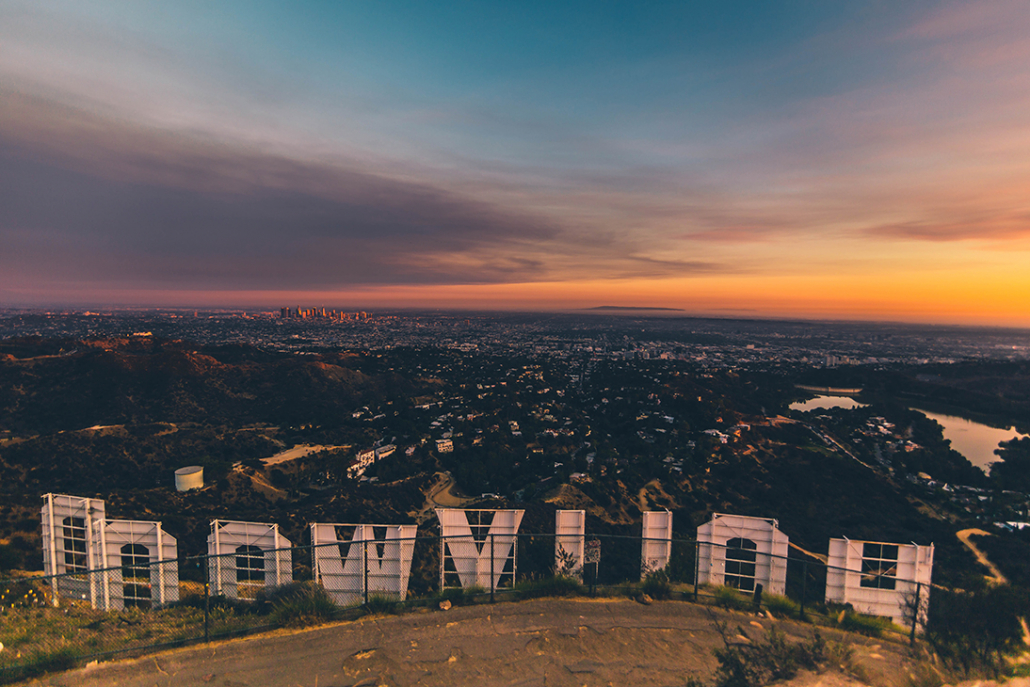 hollywood sign view of los angeles during sunset
